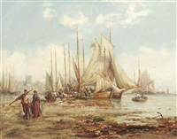 the st. ives fishing fleet unloading their catch by william edward webb
