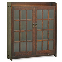 early double-door bookcase with mitered mullions by gustav stickley