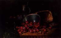 plums, apples, a basket, a copper saucepan, and a pewter teapot on a table by august herrmann allgau