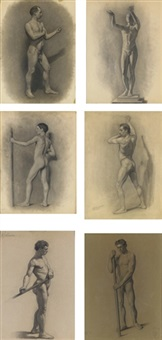 male figure studies (6 works) by theodore robinson