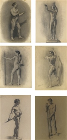 male figure studies 6 works by theodore robinson