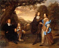a group portrait of a family in a wooded landscape by daniel haringh