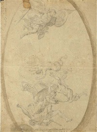 the fall of the rebel angels (+ a study of the same composition, verso) by giuseppe simonelli