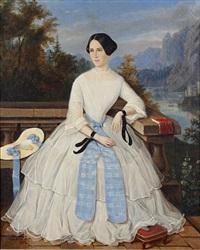 portrait of a lady on a balcony by f. de korff
