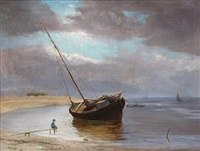 coastal scene with a sailing boat by viggo simesen