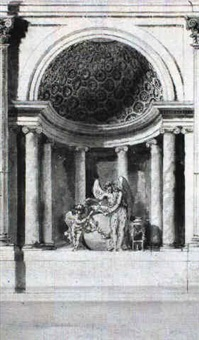 design for a domed alcove with two allegorical figures by giacomo quarenghi