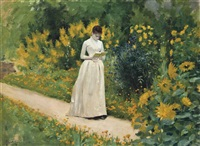 reading on the garden path by albert aublet