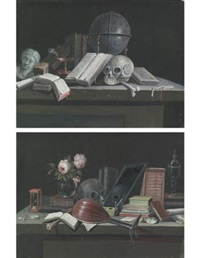 vanitas still lifes (pair) by paul lelong