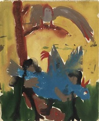 untitled (blue bird) by bob thompson