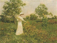 a girl picking flowers by marcel adolphe bain