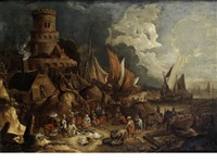 fishermen preparing their catch in a busy harbour by lucas smont the younger