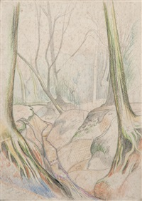 working sketch for a woodland scene (+ 5 others; 6 works) by john northcote nash