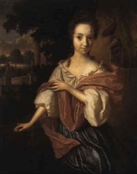 portrait of a lady, in a blue dress and pink shawl, by a fountain in a garden by aleijda wolfsen