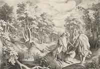 der engel des herrn und baalam (bileam mit dem esel in großer landschaft) by nicolaes de bruyn