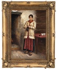 stående, strikkende kvinne i interiør by axel ender