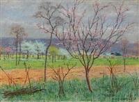 arbres en fleurs by léon-henri lievrat