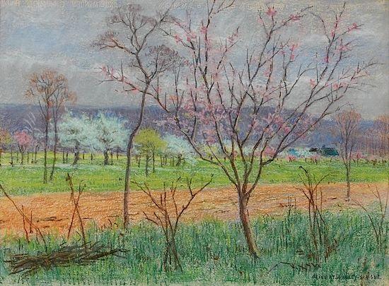 arbres en fleurs by léon henri lievrat