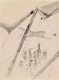 flugzeug über new york, am blattrand oben by wilhelm thöny