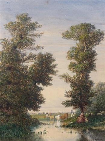 vaches et moutons en bord de rivière by constant troyon