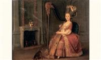 jeune fille à la harpe by charles lepeintre