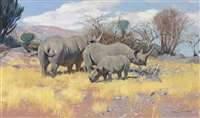 a group of rhinoceros by wilhelm friedrich kuhnert