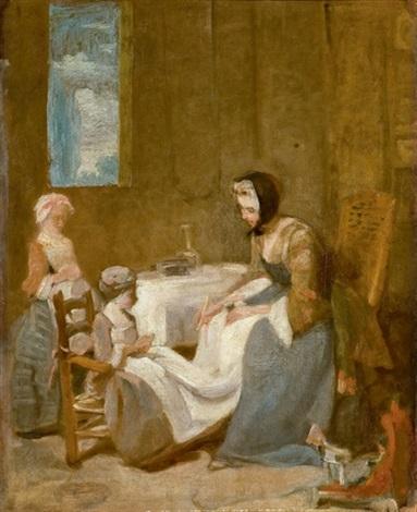 le bénédicité - esquisse by jean baptiste siméon chardin