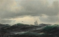 seascape with high waves and a sailing ship by carl ludwig bille