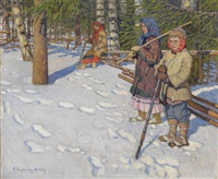 children in a wintry forest by nikolai petrovich bogdanov-bel'sky