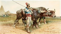 a herder with buffalo by giuseppe raggio