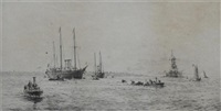 the royal yacht, off cowes by roland langmaid