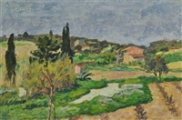 french farmhouse & tilled fields by rupert bunny