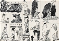 here ends this book (from a book of satyrs; 21 works in 1 frame) by austin osman spare