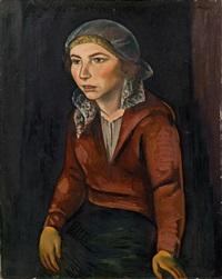 damenporträt mit kopftuch by georg jerzy merkel