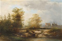 summer landscape with figures near a farmhouse by pieter lodewijk francisco kluyver