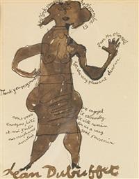 personnage féminine avec inscriptions (letter à mr o'connell) by jean dubuffet