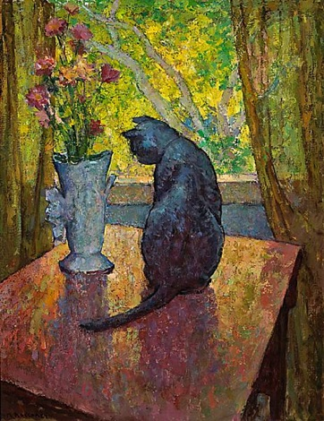 cat and vase by mischa askenazy