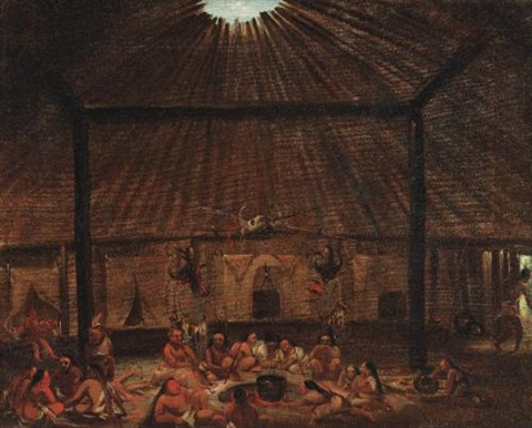 interior of a mandan lodge by george catlin