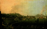 veduta di chiaja / fino al vesuvio (+ 3 others; 4 works) by pietro antoniani