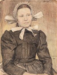 girl wearing a lace bonnet by hendrik jan wolter