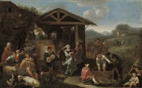 an italianate landscape with peasants by dirk helmbreker