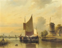 shipping on a calm by cornelis petrus t' hoen