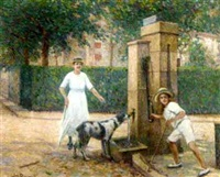 drinking at the fountain by jean descamps