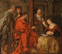 christus bei maria, martha und lazarus by jacob jordaens