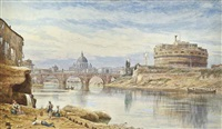 view of the castel sant'angelo and pont sant'angelo, rome by john whitacre allen