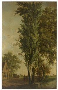 paysage animé aux grands arbres by dutch school (18)