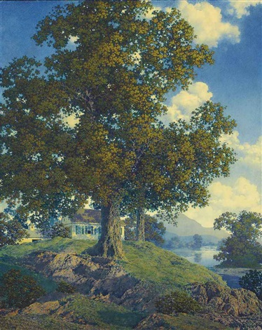 peaceful valley homestead by maxfield parrish