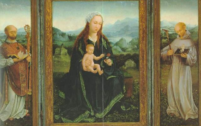 maria mit kind und den heiligen bruno von köln und bernhard von clairvaux by german school cologne 16