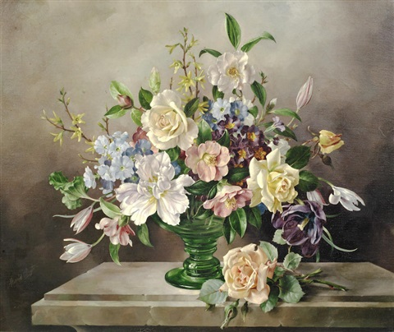 Still Life Of Flowers In A Green Glass Vase By Harold Clayton On Artnet