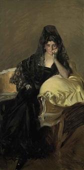 portrait of señora de urcola wearing a black mantilla by josé marie de la bastida y fernandez