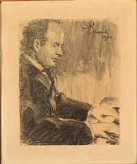 the danish composer august enna playing the piano by peder severin krøyer